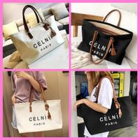 Tas Tote Bag Wanita Kanvas Import Korea Kantor Big Size muat banyak