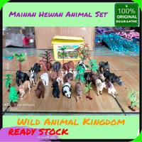 Mainan Hewan Animal Set / Wild Animal Kingdom 23 pc Hewan dan 10 Pohon
