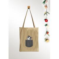 Tas Kanvas Tote Bag Wanita Pakai resleting / ToteBag Murah Unisex Cat