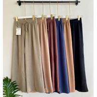 Celana Kulot Panjang Rajut/Plisket Import