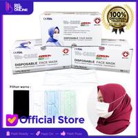 Masker 3Ply Hijab isi 50Pcs, Masker BFE 95%, Masker 3ply headloop biru