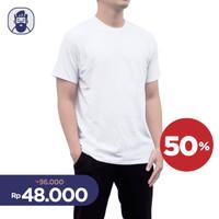 Kaos Polos Tshirt Premium Cotton Atasan Pria / Wanita Warna Putih L XL