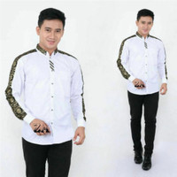 baju koko hadroh putih batik elegan gus azmi