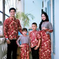 Batik Baju Couple Keluarga Marwah Maroon Family Sarimbit