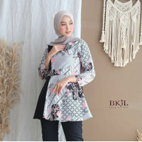 Baju batik kerja wanita kombinasi polos lengan panjang