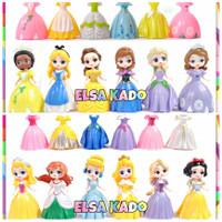 Figure Princess Ganti Baju Set 6 + 6 Gaun Frozen Belle Ariel Rapunzel