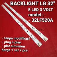 lampu led backlight 3V 5kancing untuk tv LG 32inc, 32LF520A ALL tipe
