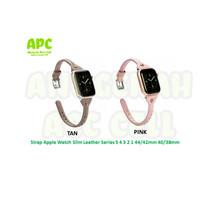 Strap Apple Watch Slim Leather Kulit iWatch 5 4 3 2 1 38/40mm 42/44mm - TAN, 38/40