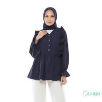 Atasan Muslim Wanita   Felicia Blouse Navy   S M L XL   Tazkia Hijab