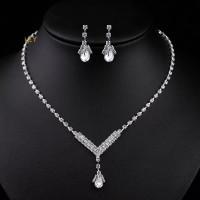 Perhiasan set pesta kalung dan anting BJ20