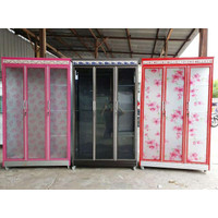 Lemari Pakaian Gamis 3 Pintu Almunium Kaca Belimbingshop