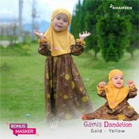 Gamis Anak Katun gamis Dandelion Khaireen Baju Anak Cewek Baju bayi - Gold Yellow, M