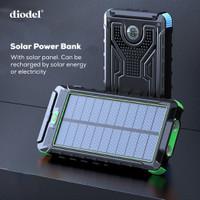 Diodel 10.000 mAh Dual USB Solar Power Bank + 2X LED Flashlight