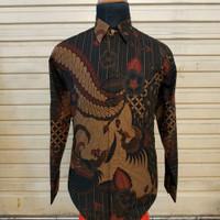 Baju kemeja batik pria panjang cowok premium seragam kantor bagus G119 - Orange, S