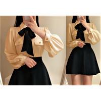 Blouse Wanita Korean Style Baju Wanita Terbaru HEM Tee Ribbon Fit S-L+
