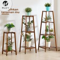 Muzy Rak Tanaman Tingkat Kayu Standing Pot Minimalis Rak Bunga HRK201