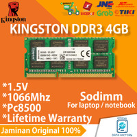 RAM LAPTOP KINGSTON DDR3 4GB 1066Mhz / PC8500 DDR 3 SODIMM MEMORY 1.5V