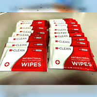 Tisu basah sachet WIPES H-Clean 70% antiseptic isopropyl alcohol 20pcs
