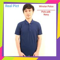 Kaos Kerah Pria Polos - Kaos Polo Polos- Polo Polos Biru Gelap/Dongker
