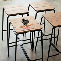 Bangku Cafe Kotak Unik - Kursi Resto Rangka Behel
