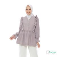 Atasan Muslim Wanita | Felicia Blouse Abu | S M L XL | Tazkia Hijab