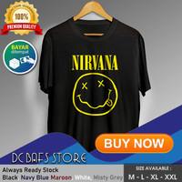 Kaos Tshirt Cowok Pria Dewasa Distro Terbaru Premium Band Nirvana - Putih, M