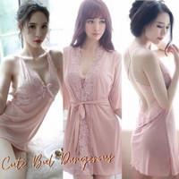 Lingerie Sexy Set Backless Temptation 3 in 1 (Lingerie+Kimono+GString)