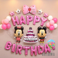 Set Foil Balloon Happy Birthday Mickey Minnie Mouse / Dekorasi Balon