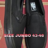 SEPATU PRIA UKURAN JUMBO VANS SLIP ON BLACK SIZE 43-46