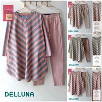 New Delluna Set Setelan Celana Wanita Jumbo Baju Kerja Big Size Salur