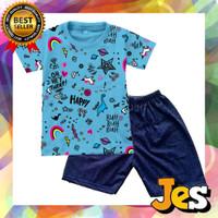 Baju stelan pendek anak laki-laki happy biru usia 1-10Tahun - 1thn