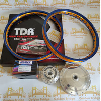 PAKET VELG TDR + JARI2 + TROMOL COMET RING 17 140/140 BLUE GOLD MIO J