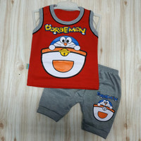 Baju setelan bayi laki laki allsize 0-12bulan (k.doraemon) - Merah, All Size