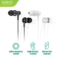 Headset Robot RE20 Wired Headset Earphone Bass Android iPhone Original
