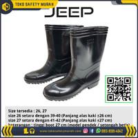 Sepatu boot bot Jeep pria wanita pendek hitam proyek karet anti air