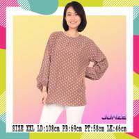 Blouse Wanita Lengan Panjang Oversize Polkadot 122406 - COKLAT, L