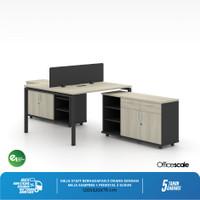 Meja Kerja Kantor T Shape Berhadapan 2 Orang + Meja Samping Sorong