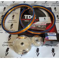 PAKET VELG TDR + JARI2 + TROMOL COMET RING 17 140/140 BLUE GOLD MIO M3