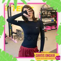Kaos olahraga lengan panjang wanita baju sport cewek adem
