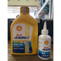 PAKET OLI SHELL ADVANCE 10W-30 AX5 (0,8L) + OLI GARDAN SHELL MATIC