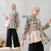 Baju Wanita Kombinasi Batik Lengan Panjang Motif Bunga Terbaru