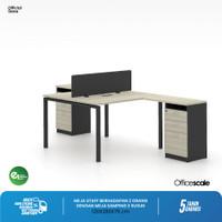 Meja Kerja Kantor T Shape Berhadapan 2 Orang + Meja Samping 3 Susun