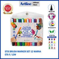 SPIDOL ARTLINE DRAWING STIX BRUSH MARKER SET 12 WARNA ETX-F/12WK