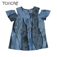 TORIO Smart Casual Blue Girl Batik - Baju Batik Anak (6-12 tahun)