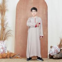 Baju Muslim Koko Gamis Warna Anak Usia 1-5 Tahun - Abu Biru, 2 Tahun