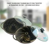 PAKET BUNDLING TULBAN MULTI PAN TWISTER & DIAMOND 24 CM - LOYANG KUE