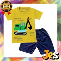 Baju Stelan Pendek anak laki-laki tractor Kuning Usia 1-10 tahun
