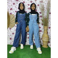 Jumpsuit Jeans Anak Perempuan/Overall Celana Kodok Anak Usia 9-11Tahun