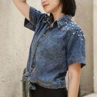 Atasan Blouse Denim Jeans Ribbon Tied Pearl Casual Top Baju Wanita BC