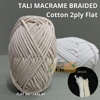 Tali Macrame Braided Katun 2ply Flat 5mm 200gr